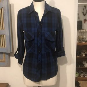 Zara Woman blue plaid flannel shirt small oversize